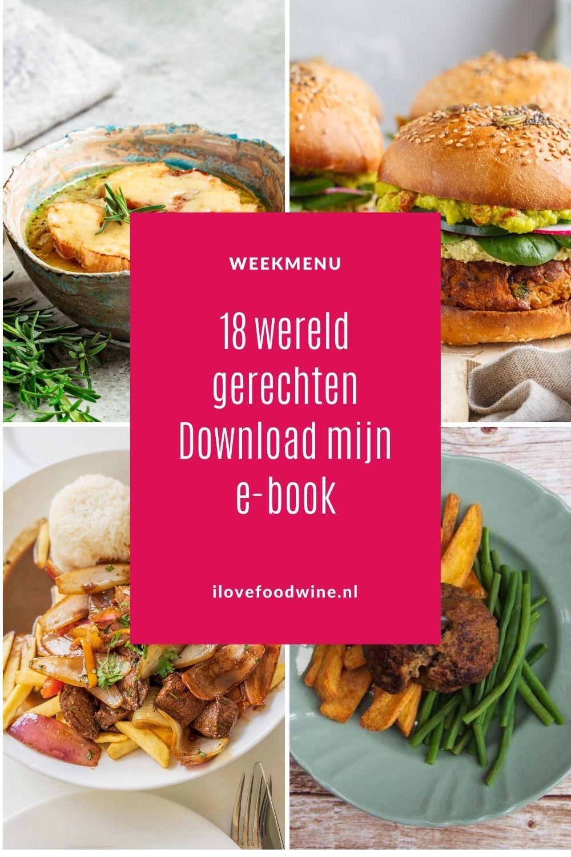 Wereldgerechten als Franse uiensoep, Italiaanse Osso buco, Chileense enchiladas, Thaise kokosrijst of Hongaarse goulash. Al deze klassiekers vind je in mijn nieuwste e-book. Met nog meer dan 13 andere bekende wereldse gerechten. Maar daarnaast bespreek ik ook 19 icoonwijnen. En geef ik 23 culinaire hotspots prijs. Bestel en download mijn e-book. Ga snel naar mijn website. Slechts € 5,-  #e-book #wereldgerechten #klassiekers #wereldwijnen